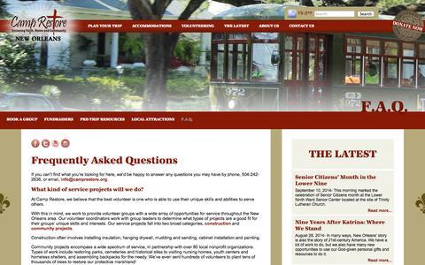 Screenshot of FAQ Page camprestore.org - Camp Restore - New Orleans | Mission Trips | Alternative Break | F.A.Q. - captured Sept. 29, 2014