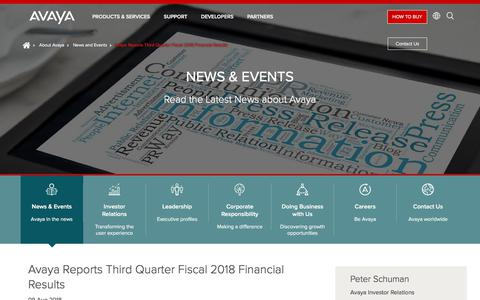 Screenshot of Press Page avaya.com - Avaya Reports Third Quarter Fiscal 2018 Financial Results - captured Aug. 11, 2018