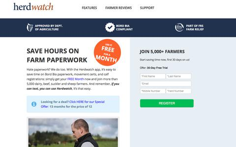Screenshot of Trial Page Pricing Page herdwatch.ie - Herdwatch Ireland Farming App - Start Your Free Trial - captured Aug. 10, 2017