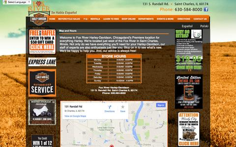 Screenshot of Maps & Directions Page foxriverhd.com - Illinois Harley-Davidson Dealer, Fox River H-D in St. Charles Offers New and Used Motorcycles, Rentals, Courses, Apparel, Parts & Accessories - captured Oct. 6, 2014