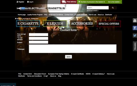 Screenshot of Contact Page electronic-cigarette.ie - Electronic Cigarette Ireland | Dublin | Cork | E Cig Shop Online! - captured Feb. 2, 2016