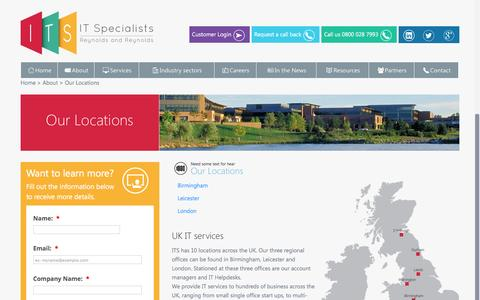Screenshot of Locations Page itspecialists.uk.com - Our Locations | ITS - captured Feb. 10, 2016