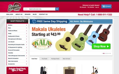 Screenshot of Home Page austinbazaar.com - Austin Bazaar® Music | Guitars, Keyboards, Ukuleles & More - captured Sept. 24, 2014