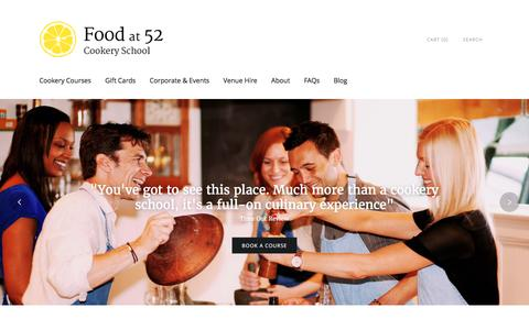 Screenshot of Home Page foodat52.co.uk - Cooking Classes London   Food at 52 Cookery School - captured Aug. 4, 2016