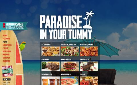 Screenshot of Menu Page hurricanewings.com - Menu | Hurricane Grill & Wings - captured Oct. 30, 2014