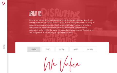 Screenshot of About Page revolve.ca - About Us   Revolve Branding & Marketing   Halifax, NS, Canada - captured July 13, 2018