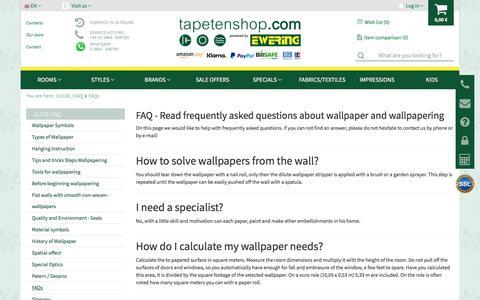 Screenshot of FAQ Page tapetenshop.com - Tapetenshop.com | FAQs | Wallpaper, borders and curtains at low prices - Rasch, Rasch Textil, AS-Creation, Marburg, Erismann Essener - captured Oct. 12, 2017