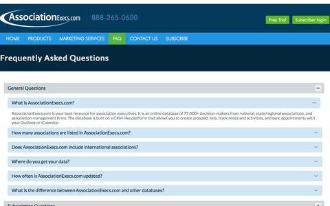 Screenshot of FAQ Page associationexecs.com - Associations FAQ, General Questions about Association Executives - captured Feb. 27, 2017