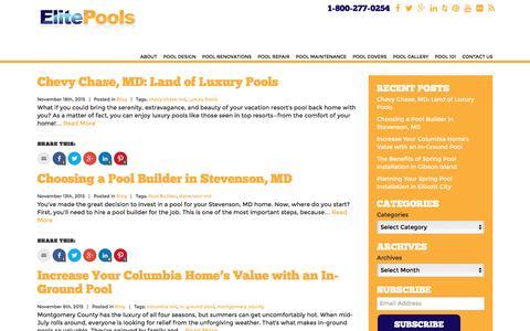Screenshot of Blog elitepools.com - Elite Pools Blog - Pool & Spa Design - Baltimore, MD - captured Dec. 8, 2015