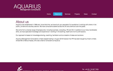 Screenshot of About Page aquariusconsultants.com - About Aquarius Management Consultants - captured Oct. 8, 2017