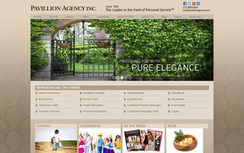 Screenshot of Home Page pavillionagency.com - Domestic Staffing & Household Employee Agency | Pavillion Agency - captured Dec. 7, 2015