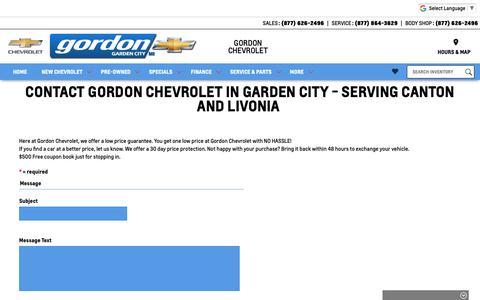 Screenshot of Contact Page gordonchevrolet.com - Contact Gordon Chevrolet | Garden City Chevy Dealer Serving Detroit, MI - captured Sept. 29, 2018