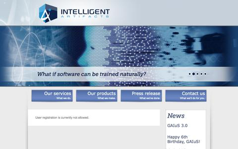 Screenshot of Signup Page intelligent-artifacts.com - Create an Account | Intelligent Artifacts - captured Sept. 30, 2014