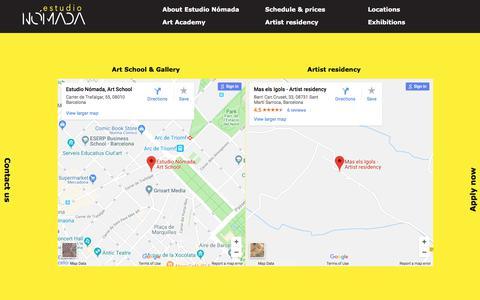 Screenshot of Locations Page estudio-nomada.com - Locations | Art school Barcelona Spain | Estudio Nómada - captured July 21, 2018