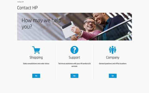 Screenshot of Contact Page hp.com - Contact HP | HP® Official Site - captured March 1, 2018