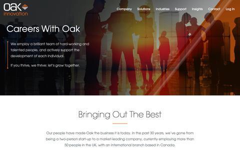 Screenshot of Jobs Page oak.co.uk - Careers | Oak Innovation - captured Oct. 4, 2018