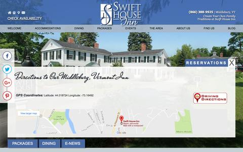 Screenshot of Contact Page Maps & Directions Page swifthouseinn.com - Swift House Inn: Middlebury Vermont - captured April 18, 2017