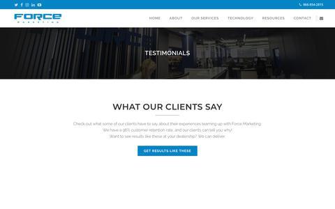 Screenshot of Testimonials Page forcemktg.com - Force Marketing   Dealership Testimonials and Reviews - captured May 20, 2019