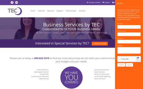 Screenshot of Services Page tec.com - Business Services by TEC – Voice, Internet and Security Service | TEC Business - captured Nov. 3, 2017