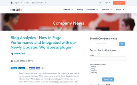 Screenshot of Press Page hubspot.com - HubSpot Company and Product Blog | Blog - captured Oct. 24, 2017