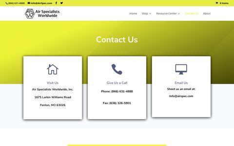 Screenshot of Contact Page airspec.com - contact | Air Specialist - captured Dec. 13, 2018