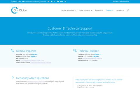 Screenshot of Support Page omni-guide.com - Customer and Technical Support Options » OmniGuide - captured Oct. 12, 2017