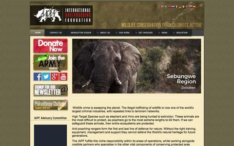 Screenshot of Home Page iapf.org - IAPF - International Anti-poaching Foundation - captured Feb. 11, 2016