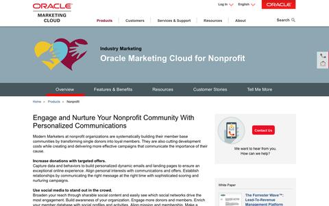 Screenshot of oracle.com - Nonprofit | Industry Marketing | Oracle Marketing Cloud - captured April 14, 2016