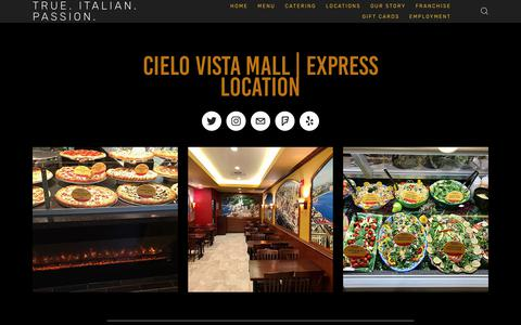 Screenshot of Locations Page lucianorestaurants.com - Cielo Vista Mall — True. Italian. Passion. - captured Oct. 21, 2018