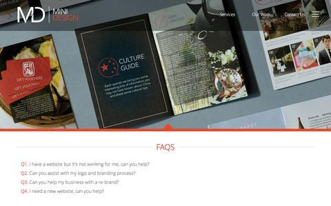 Screenshot of FAQ Page minidesign.com.au - FAQs | Small Business Web Design Company FAQs | Sydney Small Business Graphic Designers FAQs | Small Business Graphic Designer Sydney FAQs - captured Aug. 12, 2016