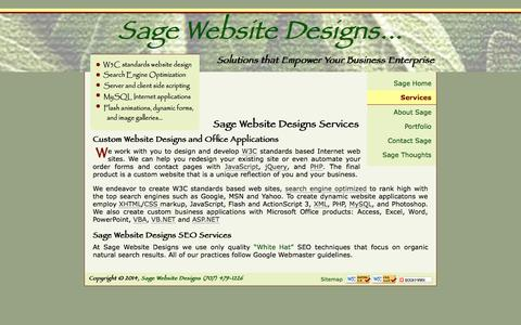 Screenshot of Services Page sagewebsitedesigns.com - Services from Sage Website Designs - Custom Website Designs, database to web integration, and Customized Office Applications. - captured Sept. 30, 2014