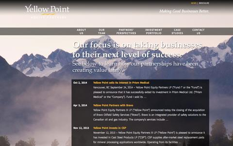 Screenshot of Press Page ypoint.ca - News | Yellow Point Equity Partners - captured Oct. 27, 2014