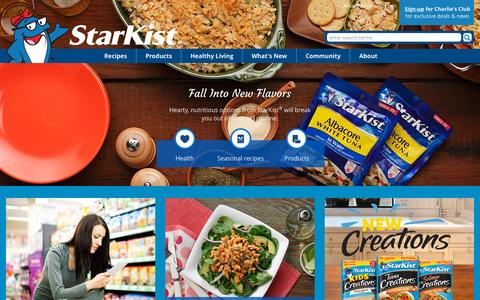 Screenshot of Home Page starkist.com - StarKist - captured Oct. 1, 2015