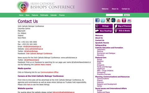 Screenshot of Contact Page catholicbishops.ie - Irish Catholic Bishops' Conference |   Contact Us - captured Oct. 12, 2018
