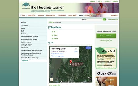 Screenshot of Maps & Directions Page thehastingscenter.org - Directions - The Hastings Center - captured Sept. 19, 2014