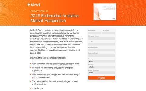Screenshot of Landing Page birst.com - Birst | 2016 Embedded Analytics Market Perspective - captured May 20, 2016