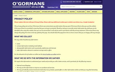 Screenshot of Privacy Page ogormans.co.uk - Privacy Policy - captured Nov. 7, 2016