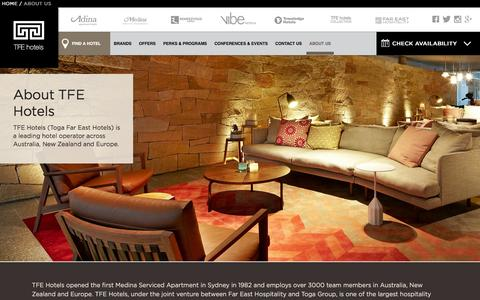 Screenshot of About Page tfehotels.com - Hotel Management Company | TFE Hotels Đ About | Hospitality Management Company - captured Jan. 12, 2016