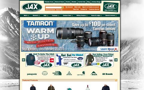 Screenshot of Home Page jaxmercantile.com - Jax Mercantile: Jax Outdoor Gear - Jax Ranch & Home | Gear | Surplus | Clothing | Footwear - captured Jan. 25, 2015