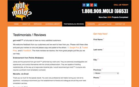 "Screenshot of Testimonials Page gotmold.ca - Testimonials & Reviews | got mold?â""¢ Indoor Air Quality Specialists - captured Nov. 17, 2016"