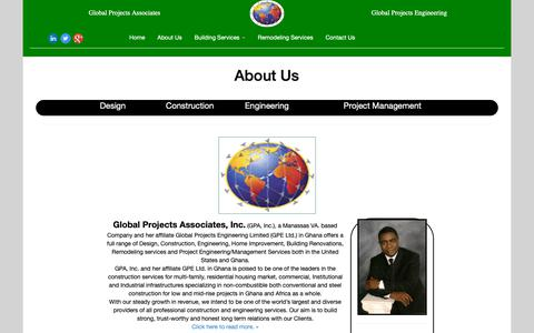 Screenshot of About Page gpabuilders.com - Global Projects Associates-Global Projects Engineering - captured Sept. 28, 2018