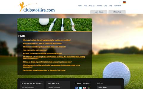 Screenshot of FAQ Page clubstohire.com - Golf Clubs Hire, Golf Club Rental, Faro Golf Hire Rental, Algarve Golf Club Hire,Algarve Golf Club Hire - captured Sept. 30, 2014