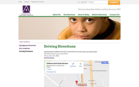 Screenshot of Maps & Directions Page cafsnj.org - Driving Directions   Children's Aid and Family Services - captured Nov. 5, 2016
