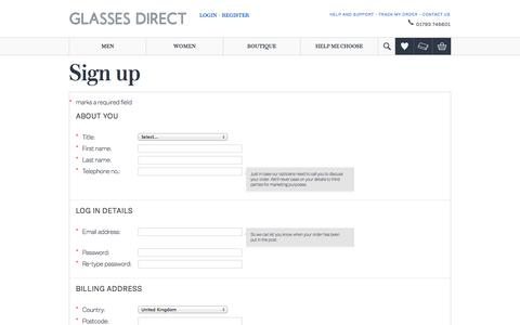 Screenshot of Signup Page glassesdirect.co.uk - Glasses Direct ™ UK's Most Trusted Online Prescription Glasses Retailer - captured Oct. 28, 2014