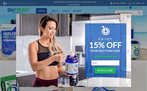 Screenshot of Home Page biotrust.com - Biotrust | BioTRUST — Naturally Honest Supplements & Vitamins - captured Aug. 23, 2019