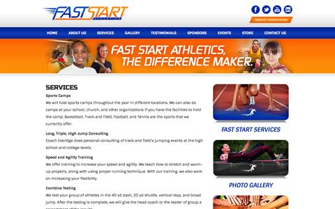 Screenshot of Services Page faststartathletics.com - Fast Start Athletics - The Difference Maker  » Services - captured Oct. 5, 2014