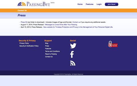 Screenshot of Press Page passingbye.com - Press    PassingBye.com - captured Oct. 2, 2014