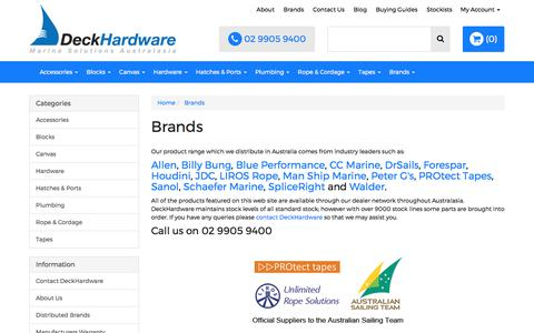 Screenshot of Products Page deckhardware.com.au - Brands - captured June 4, 2017
