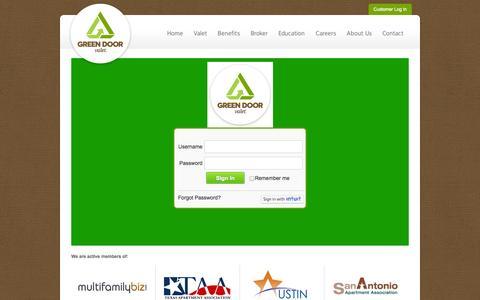 Screenshot of Login Page greendoorvalet.com - Log In - Green Door Valet - captured Sept. 30, 2014