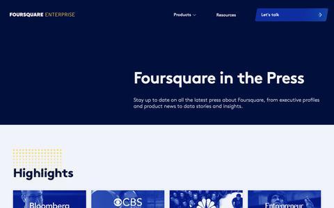 Screenshot of Press Page foursquare.com - Press - captured Jan. 9, 2019